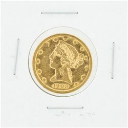 1908 $5 VF Liberty Head Half Eagle Gold Coin