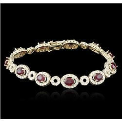 14KT Yellow Gold 6.65ctw Ruby and Diamond Bracelet