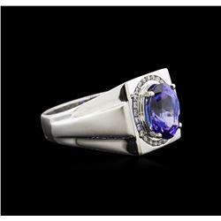3.63ct Tanzanite and Diamond Ring - 14KT White Gold