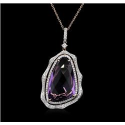 20.23ct Amethyst and Diamond Pendant With Chain - 14KT Rose Gold