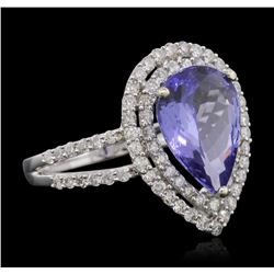 14KT White Gold 3.01ct Tanzanite and Diamond Ring