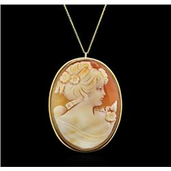 14KT Yellow Gold Cameo Pendant With Chain