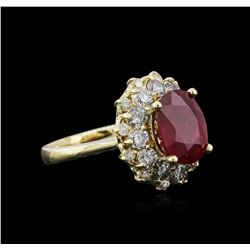 14KT Yellow Gold 3.55ct Ruby and Diamond Ring