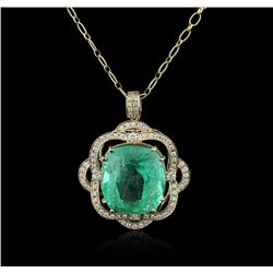 14KT Yellow Gold GIA Cert 52.12ct Emerald and Diamond Pendant With Chain