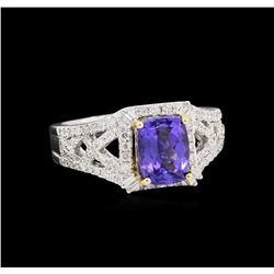 14KT Two-Tone Gold 4.35ct Tanzanite and Diamond Ring