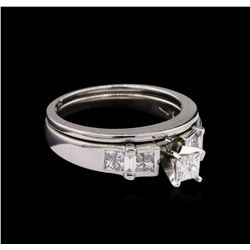 0.78ctw Diamond Wedding Ring Set - Platinum