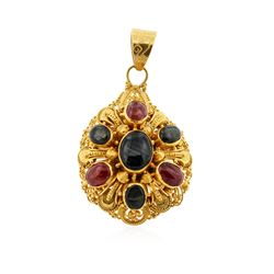 22KT Yellow Gold 2.54ctw Sapphire and Ruby Pendant