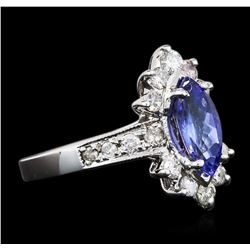 14KT White Gold 1.18ct Tanzanite and Diamond Ring