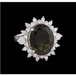 5.44ct Green Tourmaline and Diamond - Ring - 14KT White Gold