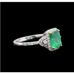 18KT White Gold 1.44ct Emerald and Diamond Ring