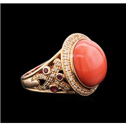14KT Rose Gold 11.71ct Carnelian, Ruby and Diamond Ring