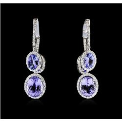 14KT White Gold 8.10ctw Tanzanite and Diamond Earrings