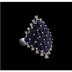 5.94ctw Sapphire and Diamond Ring - 14KT White Gold