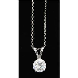 0.94ct Diamond Pendant With Chain - 14K White Gold