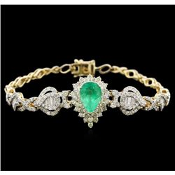 2.55ct Emerald and Diamond Bracelet - 14KT Yellow Gold