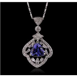 18KT White Gold 3.61ct Tanzanite and Diamond Pendant With Chain