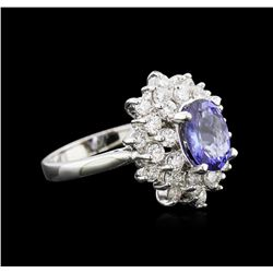 1.70ct Tanzanite and Diamond Ring - 14KT White Gold