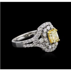 18KT Two-Tone Gold GIA Certified 2.07ctw Fancy Yellow Diamond Ring