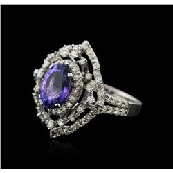 14KT White Gold 4.04ct Tanzanite and Diamond Ring