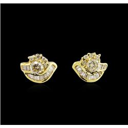 0.78ctw Diamond Earrings - 14KT Yellow Gold