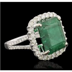 14KT White Gold 7.77ct Emerald and Diamond Ring