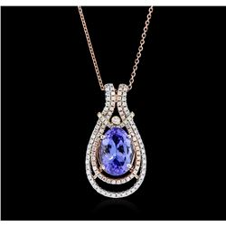 14KT Two-Tone Gold 3.95ct Tanzanite and Diamond Pendant With Chain