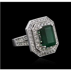 14KT White Gold 4.09ct Emerald and Diamond Ring