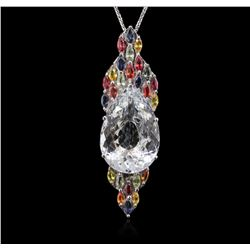 14KT White Gold 23.00ct Beryl, Sapphire and Ruby Pendant With Chain