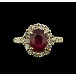 2.52ct Ruby and Diamond Ring - 14KT Yellow Gold