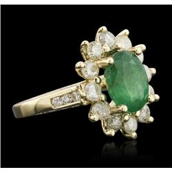 14KT Yellow Gold 2.79ct Emerald and Diamond Ring
