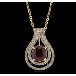 14KT Yellow Gold 3.34ct Ruby and Diamond Pendant with Chain