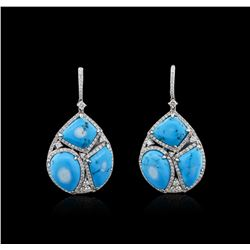 14KT White Gold Turquoise and Diamond Earrings