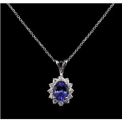 2.28ct Tanzanite and Diamond Pendant With Chain - 14KT White Gold