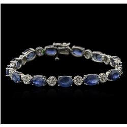 20.41ctw Blue Sapphire and Diamond Bracelet - 14KT White Gold