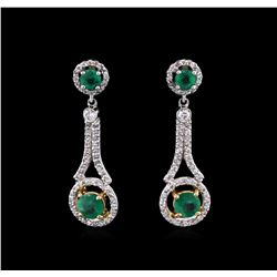 1.18ctw Emerald and Diamond Earrings - 14KT Two-Tone Gold