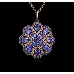 15.60ctw Tanzanite, Sapphire and Diamond Pendant With Chain - 14KT Rose Gold