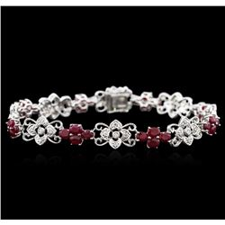 14KT White Gold 3.29ctw Ruby and Diamond Bracelet