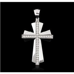 14KT White Gold 0.55ctw Diamond Cross Pendant