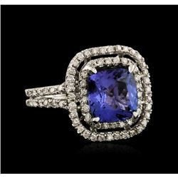14KT White Gold 3.98ct Tanzanite and Diamond Ring