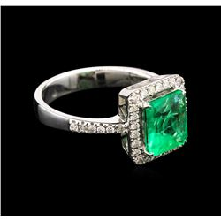 1.78ct Emerald and Diamond Ring - 18KT White Gold