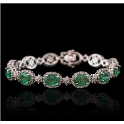 14KT White Gold 10.60ctw Emerald and Diamond Bracelet