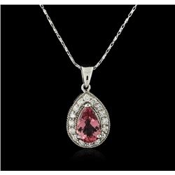 14KT White Gold 1.95ct Tourmaline and Diamond Pendant With Chain