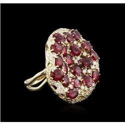 14KT Yellow Gold 9.11ctw Ruby and Diamond Ring