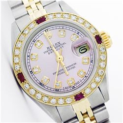 Rolex Two Tone Diamond and Ruby DateJust Ladies Watch