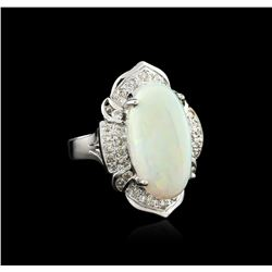 14KT White Gold 12.47ct Opal and Diamond Ring