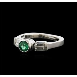 14KT White Gold 0.38ct Emerald and Diamond Ring