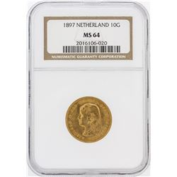1897 NGC MS64 Netherland 10G Gold Coin
