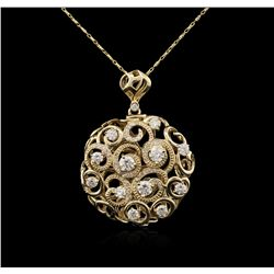 14KT Yellow Gold 1.85ctw Diamond Pendant With Chain