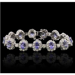 14KT White Gold 10.66ctw Tanzanite and Diamond Bracelet
