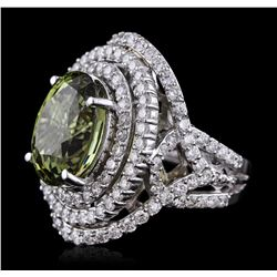 14KT White Gold GIA Certified 11.61ct Alexandrite and Diamond Ring